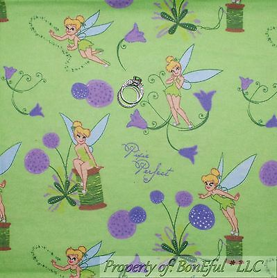 - BonEful Fabric FQ Cotton Flannel Disney Tinkerbell Fairy Flower Spring US Pixie