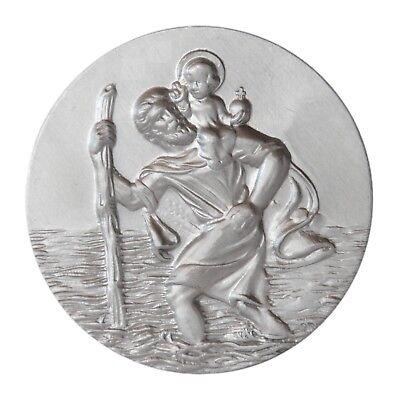 Aluminium Plakette Heiliger Sankt St. Christophorus 3D Relief Talisman 38 mm