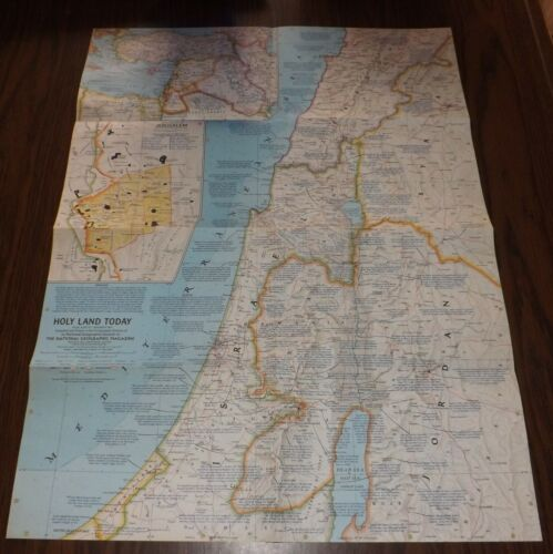 """1963 WALL MAP OF THE HOLY LAND JERUSALEM SIZE  25"""" x 19""""  GREAT TEACHERS AID"""