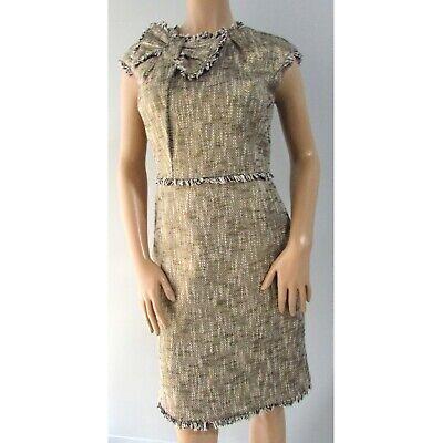 Eccoci Woven Cotton Bow Collar Sheath Dress Gold Multi Size -