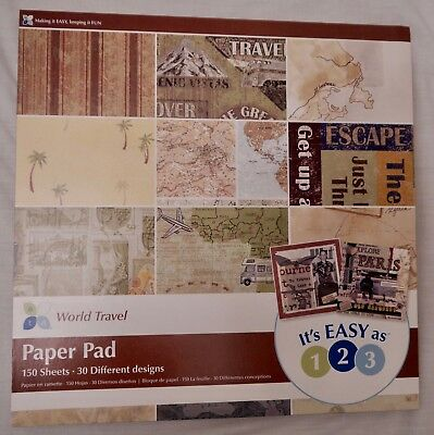 World Travel 12x12 Paper Pack:150 Sheets=30 designs x5 each Scrapbook Crafts NEW