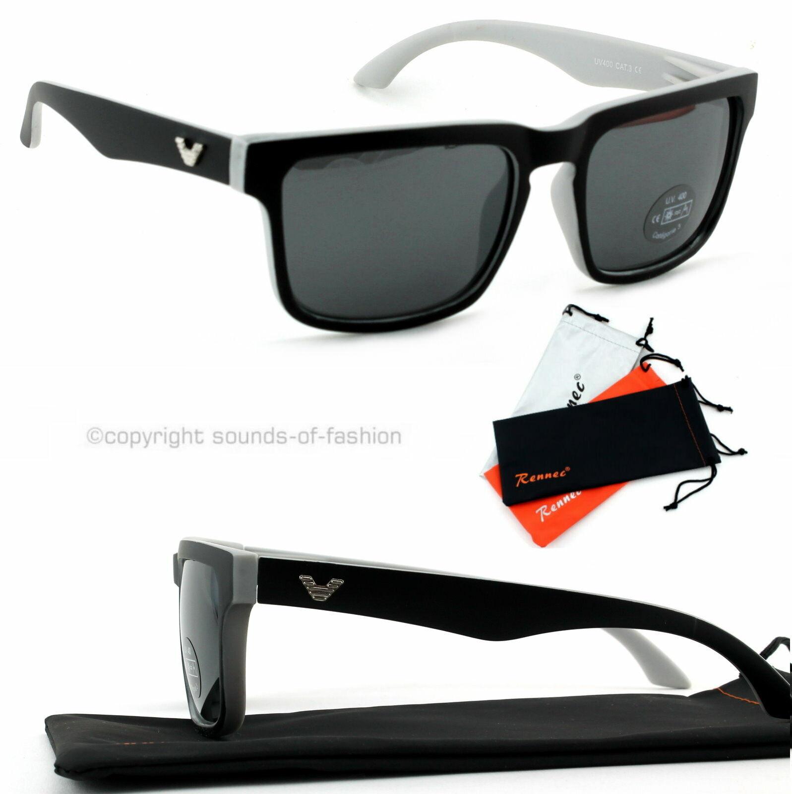 Große Sonnenbrille Rechteckig Verspiegelt Damen Herren XL grau matt schwarz V1