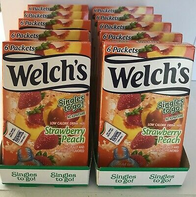 Welch's Singles To Go Water Drink Mix Strawberry Peach - 10 boxes (60 packets) Strawberry 10 Packets