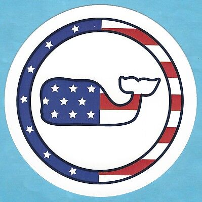 NEW AUTHENTIC VINEYARD VINES ROUND AMERICAN FLAG WHALE DOT WHALE STICKER DECAL   ()