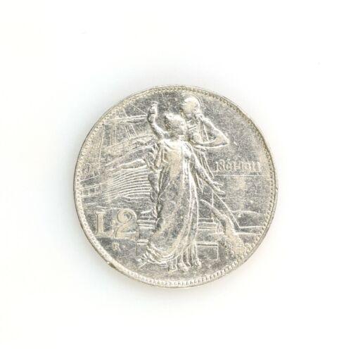 Raw 1911 R Italy 2 Lire Coin Circulated Silver Italian Coin