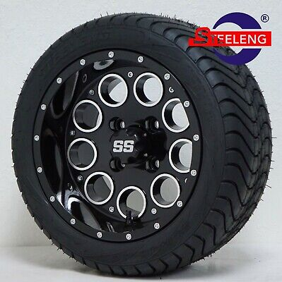 """GOLF CART 12"""" BLACK PIONEER WHEELS and 215/40-12 DOT LOW PROFILE TIRES (4)"""