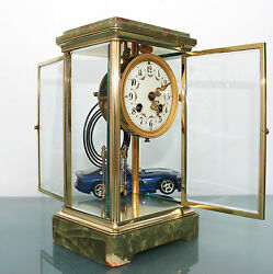 Antique French MOUGIN CLOCK Mantel TRANSLUCENT! MERCURY Pendulum CHIME Skeleton