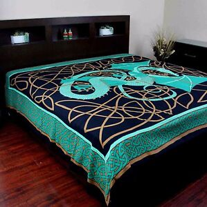 Handmade Cotton Celtic Dragon Tapestry Tablecloth Spread 70x104 Inch Twin Green