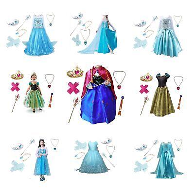 Mädchen Kinder Anna Schnee Kleid Frozen Prinzessin Elsa Cosplay Party Kostüm DE