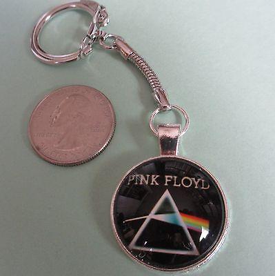 PINK FLOYD 'Dark Side of the Moon' Prism Retro Keychain w/Cabochon; Key Ring