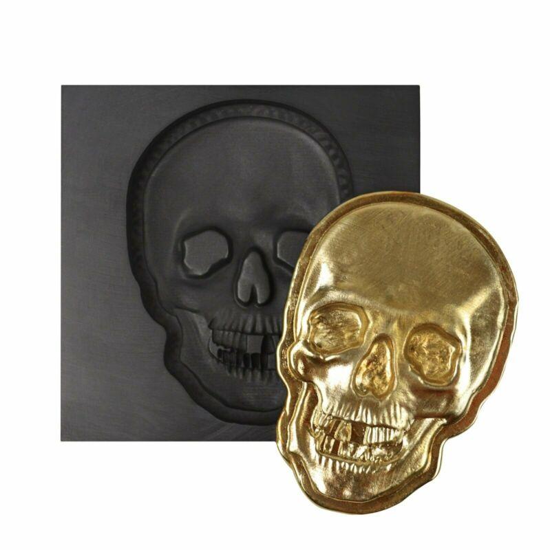 3D LARGE 12 OZ SKULL FACE GRAPHITE INGOT MOLD FOR MELTING GOLD SILVER COPPER