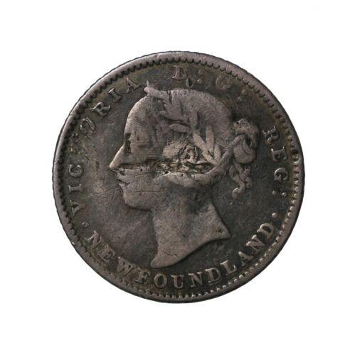 1882-H Newfoundland Canada Silver Dime 10 Cents KM#3 Queen Victoria Coin