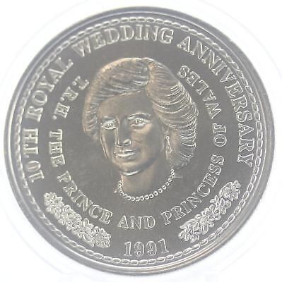 Turks and Caicos 10th royal wedding anniversary 1991 coin