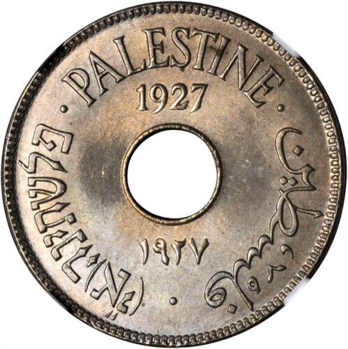 1927 Palestine 10 Mils, NGC MS 66