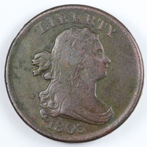 1803 Draped Bust Half Cent 1/2C - Small Date, Large Fraction