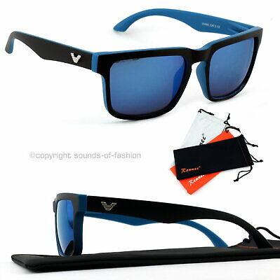 Große Sonnenbrille Rechteckig Verspiegelt Damen Herren XL Blau matt blau V1