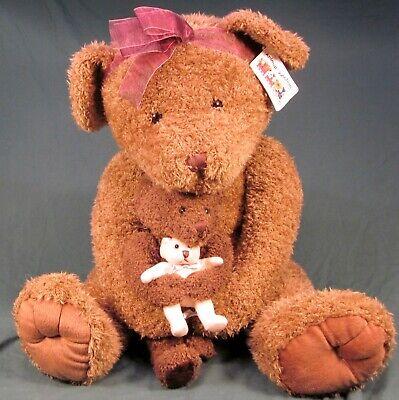 Seltener Russ Plüsch Beanie Bären From The Past 38.1cm Handgefertigt Wald Grün Teddys