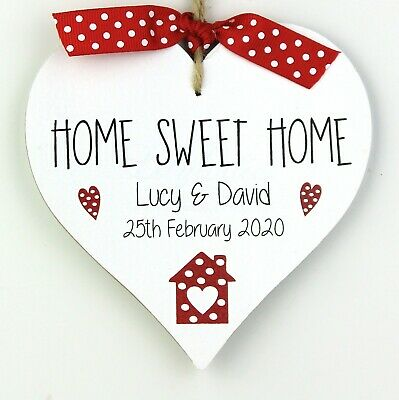 Personalised First Home Sweet Home Gift Heart Plaque Sign Moving New House Red