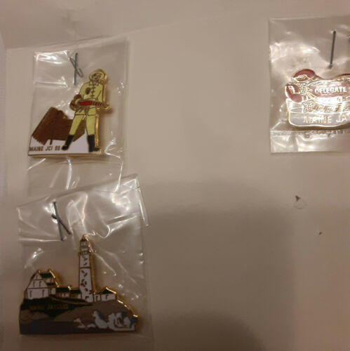 3 JAYCEES Collectible Pins Maine LOBSTER man LIGHT HOUSE Hat Lapel Safety Clasp