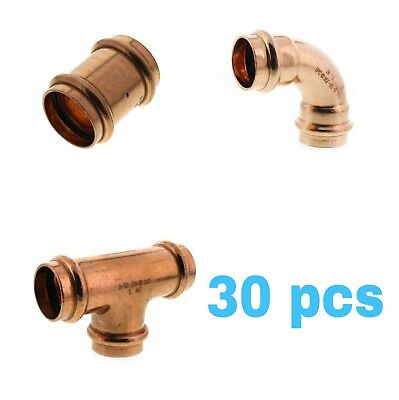 Lot Of 30 12 Propress Copper Fittings.tees Elbows Coupling Propre Fittings