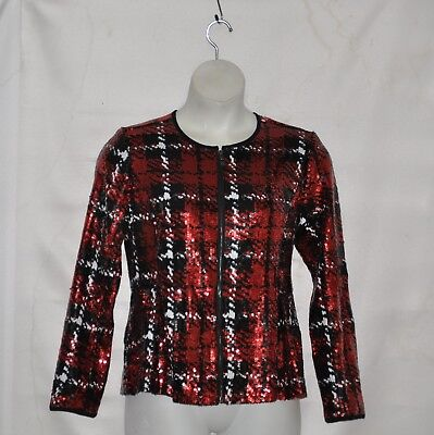 Belle by Kim Gravel Zipper Front Jacket With sequin Size S Red Multi - Red Sequin Jacket