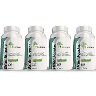 4-PACK NeuroEnhance Brain Supplement Memory Booster Ginkgo Biloba Natural Focus