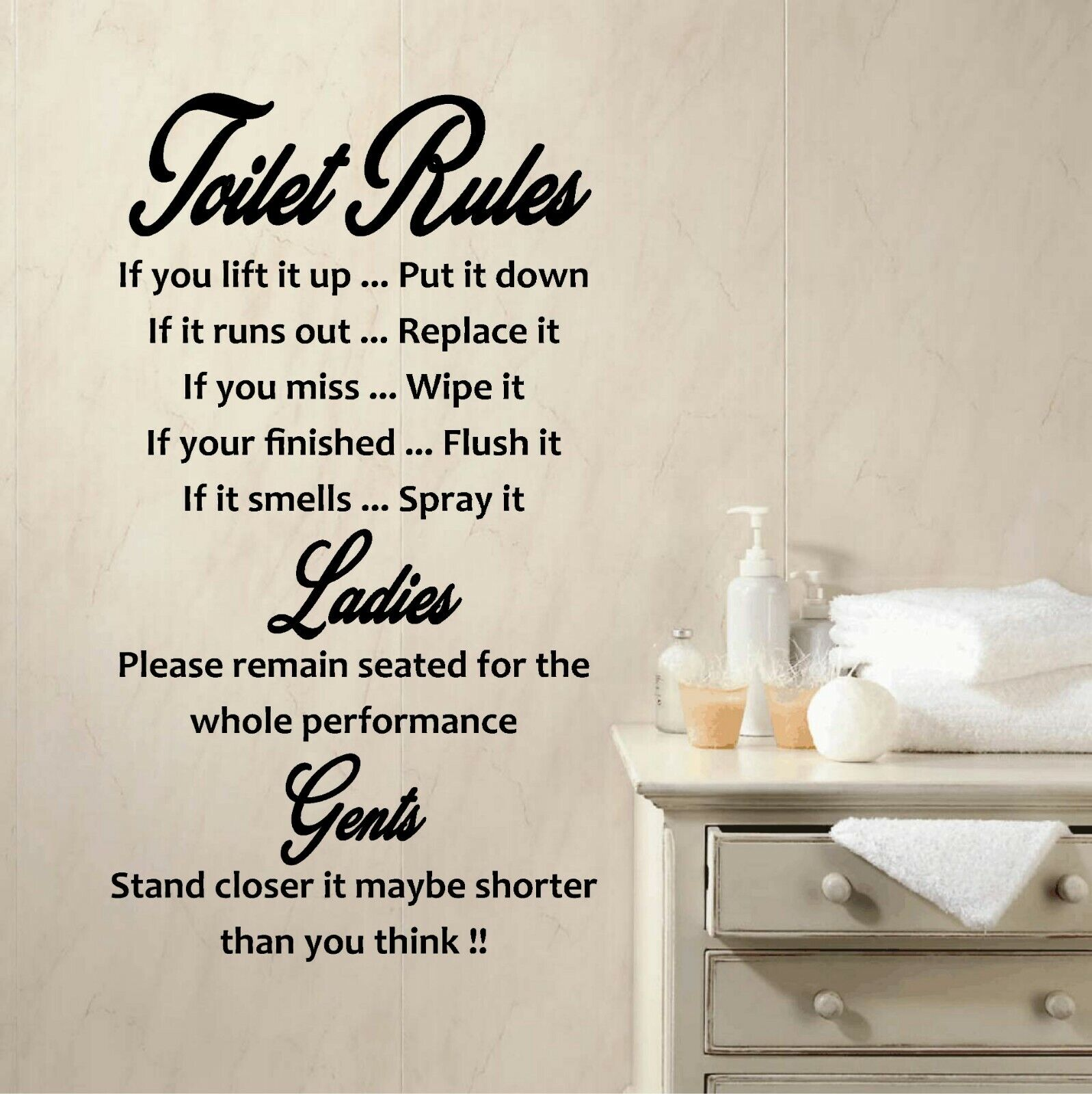 Home Decoration - BIG Wall art toilet rules quote vinyl wall stickers decal removable home decor
