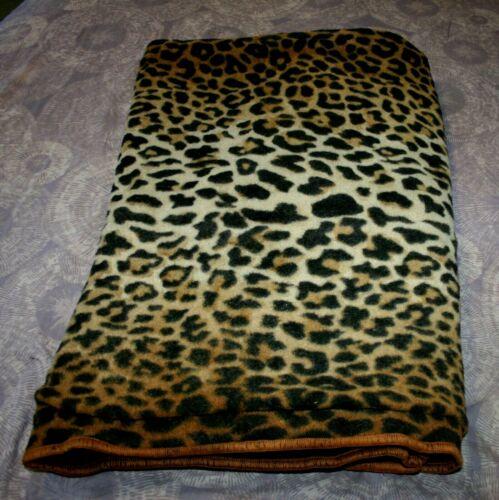 Antique Wool Blanket 2-ply Horse Hair Sleigh Carriage Blanket 64x51 LEOPARD