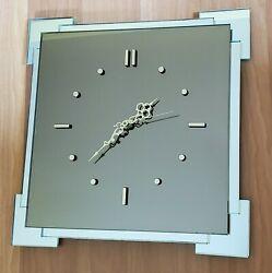 Custom Design Castle Mirror Glass Gold Wall Clock Contemporary Square Home Offic