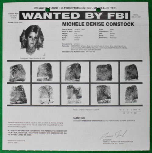 Original 1998 Wanted by FBI Post Office Poster Manslaughter Unlawful Flight