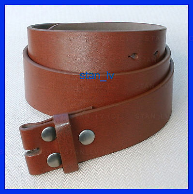 - BROWN PLAIN LEATHER BELT STRAP SNAP ON NO BUCKLE CASUAL DRESS MENS WOMENS