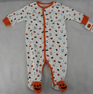 Halloween Infant Carter's White Orange Pumpkin Ghost Sleeper Size 3 months NWT (Baby Halloween Costumes Carters)