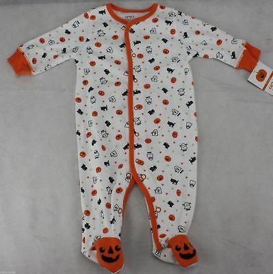 Baby Halloween Sleepers (Halloween Infant Carter's White Orange Pumpkin Ghost Sleeper Size 9 months)