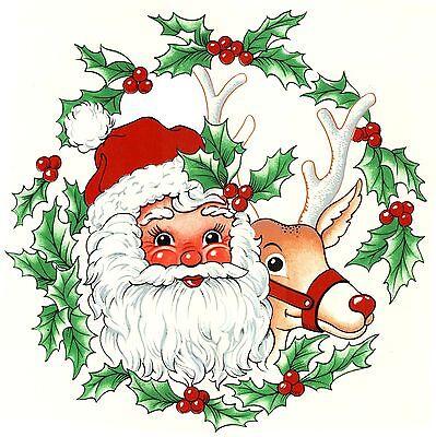 (Christmas Santa Reindeer Wreath Select-A-Size Ceramic Waterslide Decals Xx)