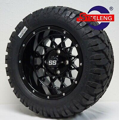 "GOLF CART 12"" BLACK VENOM WHEELS and 20"" STINGER ALL TERRAIN DOT TIRES"