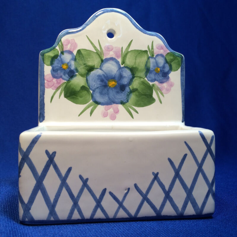 Portugal Hand Painted Wall Pocket Signed Donaceti - Match Box Blue White Flowers
