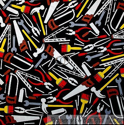 BonEful Fabric FQ Cotton Quilt Black Red Screw Bolt Tool Men Boy L Hammer Garage