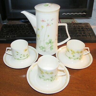 Demitasse Natural (Mikasa Natures Garden Bone China Coffee Pot w/3 demitasse cups & saucers MINT! )