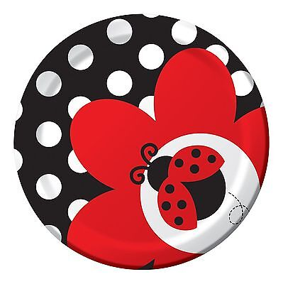 16 LADYBUG DESSERT PLATES BIRTHDAY also available BALLOONS, NAPKINS,TABLE COVERS
