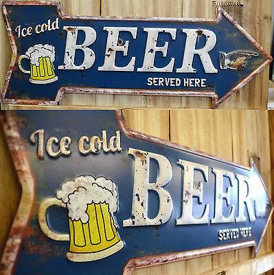 Blechschild geprägt Pfeil Bier Biergarten Kneipe Bar Restaurant Imbiss Metall
