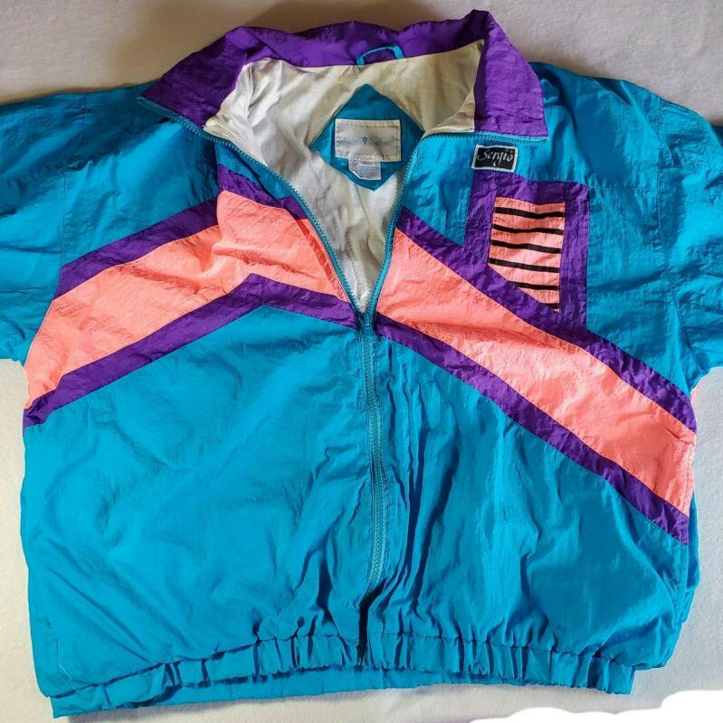 Sergio Valente Vintage Track Suit 80's Neon Vivid Color Blocks! Sz L *some stain