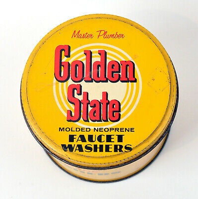 Vintage Advertising Tin Golden State Faucet Washers