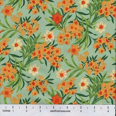 - Flower of the Month DAFFODIL GREEN March Northcott Fabric By the FQ - 1/4 YD
