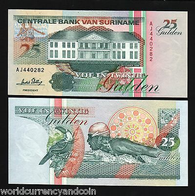 SURINAME 25 GULDEN P138 1996 SOCCER FOOTBALL SWIMMING UNC OLYMPIC FLAG BANK NOTE