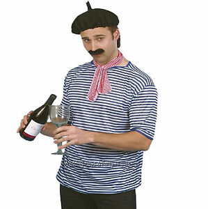 French Waiter Onion Seller Top Beret Neck-Tie Moustache Mens Fancy Dress Costume