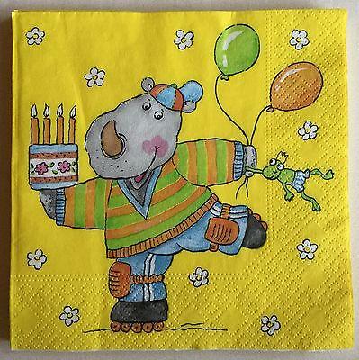 Tissue Papier Servietten Kinder Geburtstag Tisch Deko Gelb 33 x 33 cm 3-lagig ()