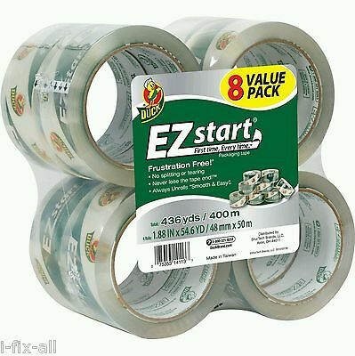 Duck Brand Ez Start Packing Tape 8 Rolls 1.88 X 54.6 Yd 2.6 Mil Super Clear