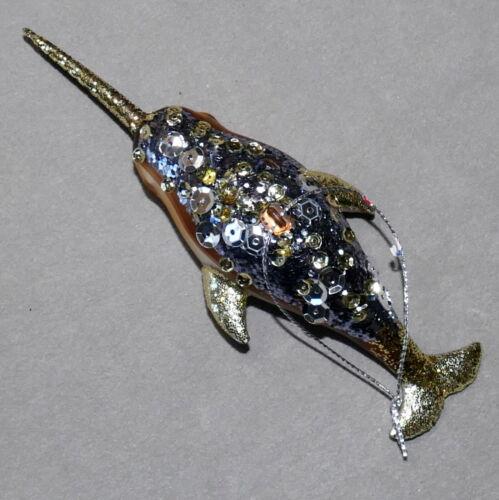 Christmas Ornament Glass Animal Narwhal Whale Sequins Gunmetal USA SELLER
