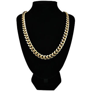 Mens-24k-Gold-Plated-Curb-Chain-Heavy-Necklace-24-30-Long-10mm-Wide-New