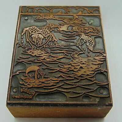 Vintage Printing Letterpress Printers Block Kid Holding Up Ladys Swimming Top